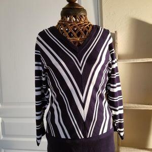 Lightweight sweater Chevron white stripe over blue